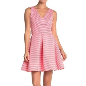 Love Ady Large Coral Ivory Striped Fit Flare Dress